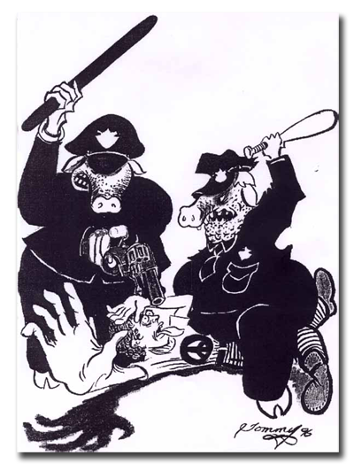 "Thomas Silverstein's Drawing of Prison Guards ""Pigs"""
