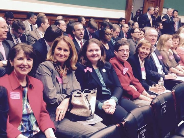 Families attending the markup wore pink tags to show their support of Murphy's bill (Photo by D. J. Jaffe)